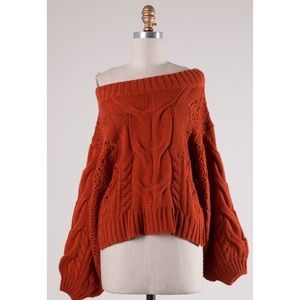 Rust Cable Knit Off-Shoulder Sweater
